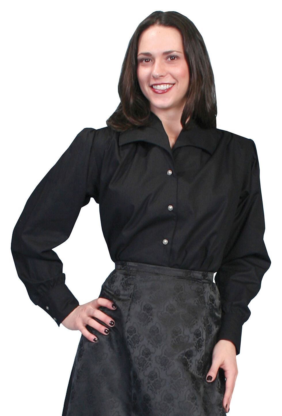 WahMaker by Scully Wide Lapel Blouse, Black, hi-res