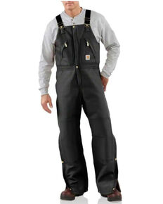 Carhartt Men's Black Zip-to-Waist Bib Work Overalls - Big, Black, hi-res