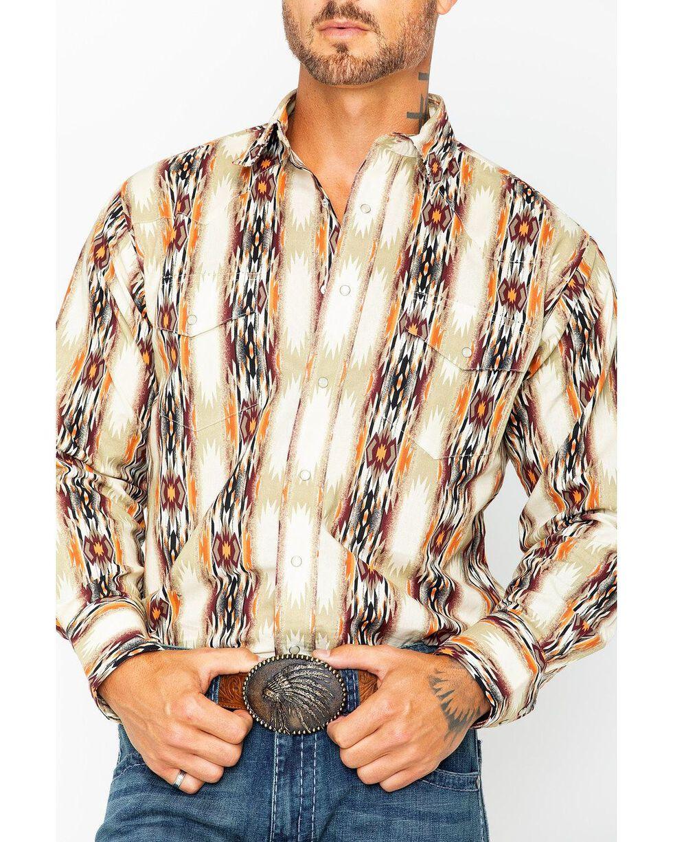 Wrangler Men's Tan Checotah Printed Shirt , Tan, hi-res