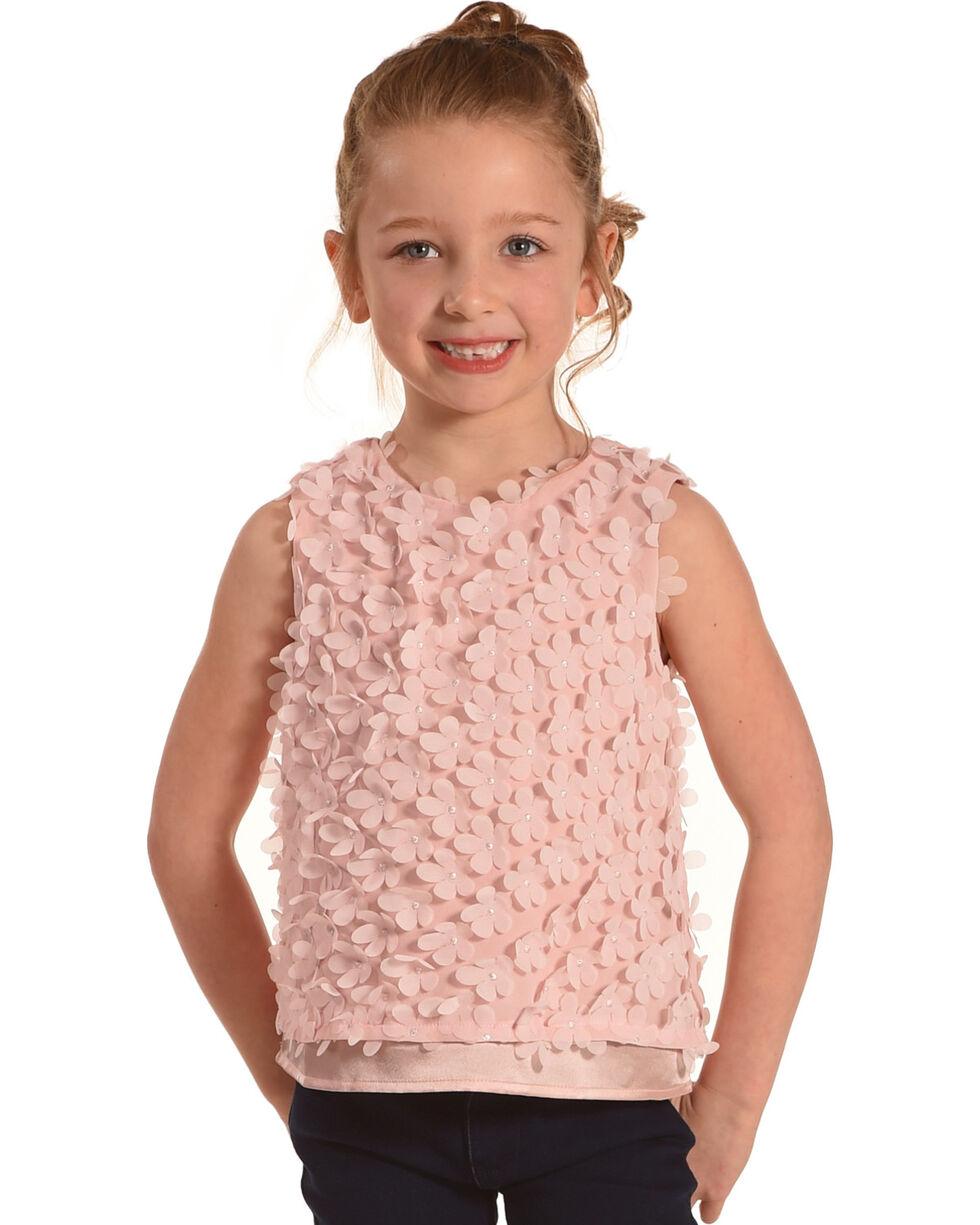 Idol Mind Girls' Pink Pop Floral Sleeveless Shirt, Pink, hi-res
