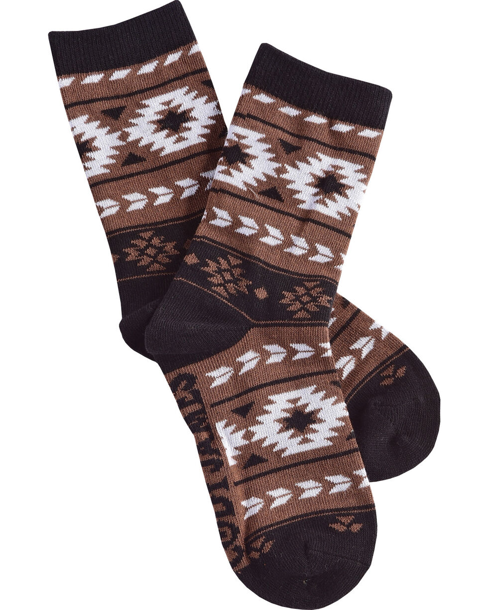Cody James Boys' Aztec Crew Socks, Brown, hi-res