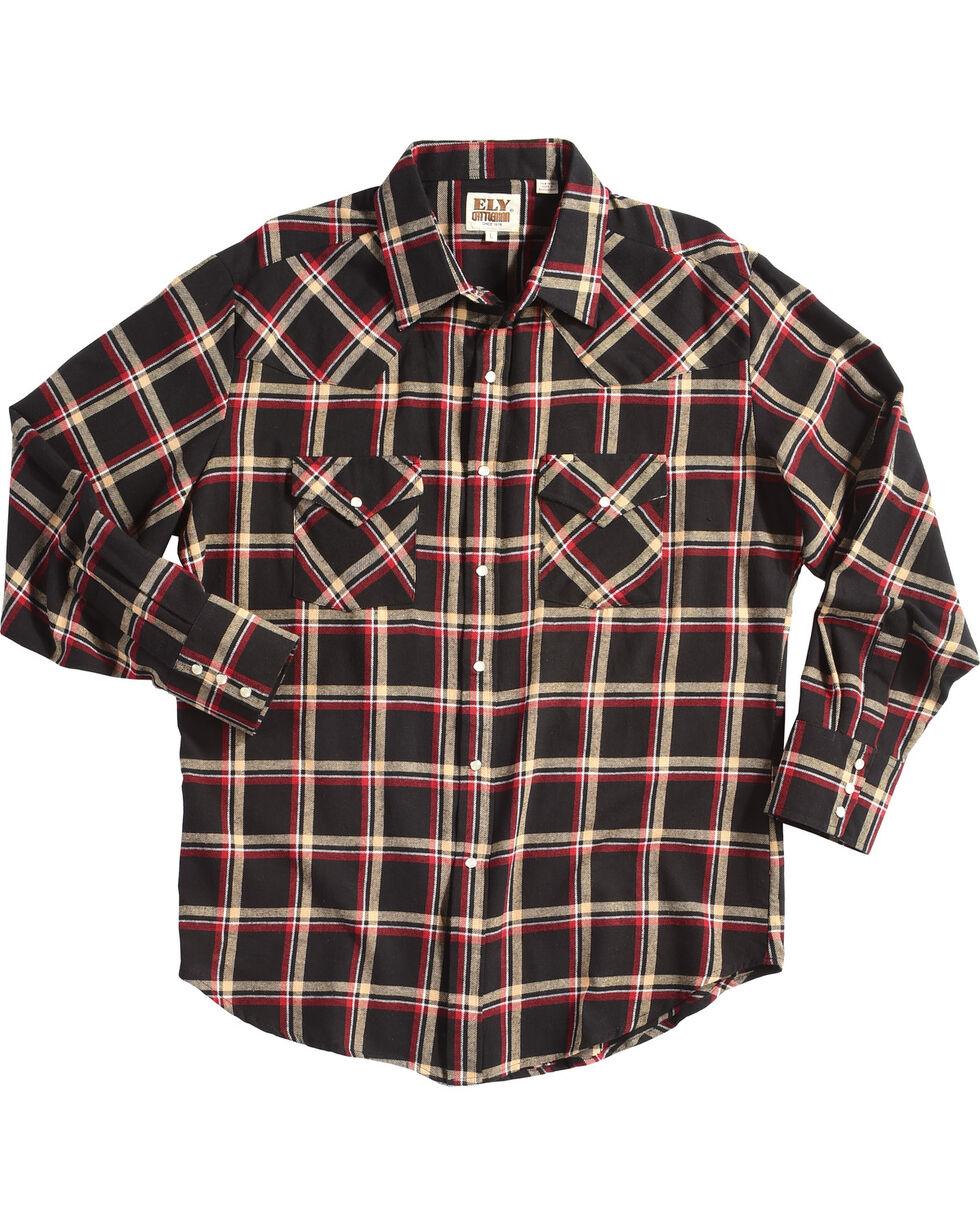 Ely Cattleman Men's Plaid Flannel Western Shirt , Black, hi-res
