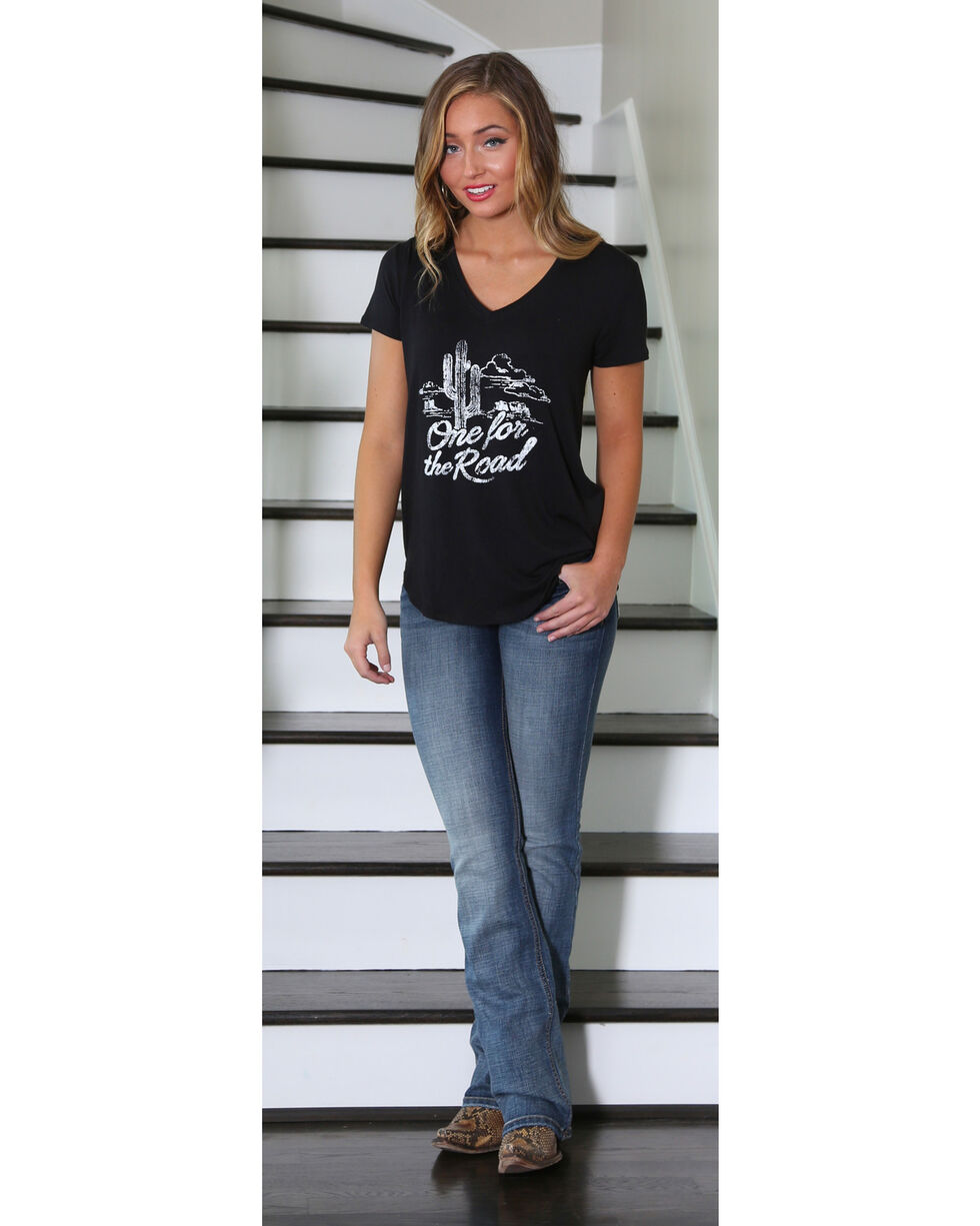 Wrangler Women's One for the Road Graphic Tee, Black, hi-res