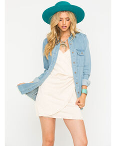 Sage the Label Women's Ellery Trucker Denim Shirt Jacket, Blue, hi-res