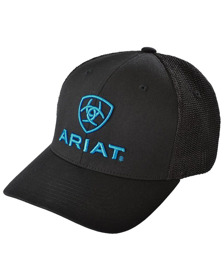 Ariat Men's Blue Logo Embroidered Cap, Black, hi-res