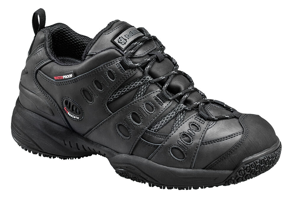 SkidBuster Men's Non-Slip Waterproof Leather Work Shoes, Black, hi-res