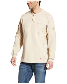 Ariat Men's Sand FR Air Long Sleeve Work Long Sleeve Henley Shirt - Tall , Sand, hi-res