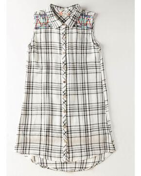 Miss Me Girls' Plaid Fade To Glory Shirt Dress, White, hi-res