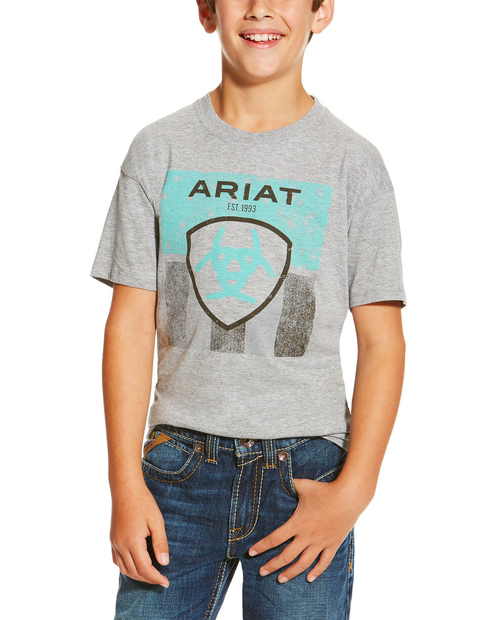 Ariat Boys' Stars and Stripes Logo Tee, Grey, hi-res