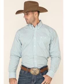 George Strait By Wrangler Men's White Small Plaid Long Sleeve Western Shirt , White, hi-res