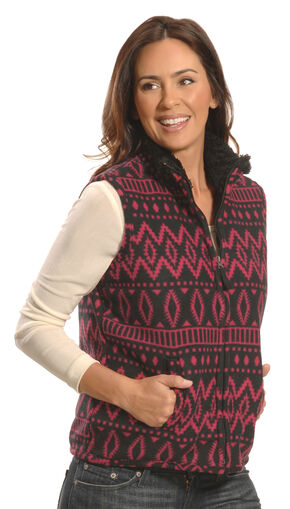 Jane Ashley Women's Red and Black Print Polar Fleece Vest , Red, hi-res
