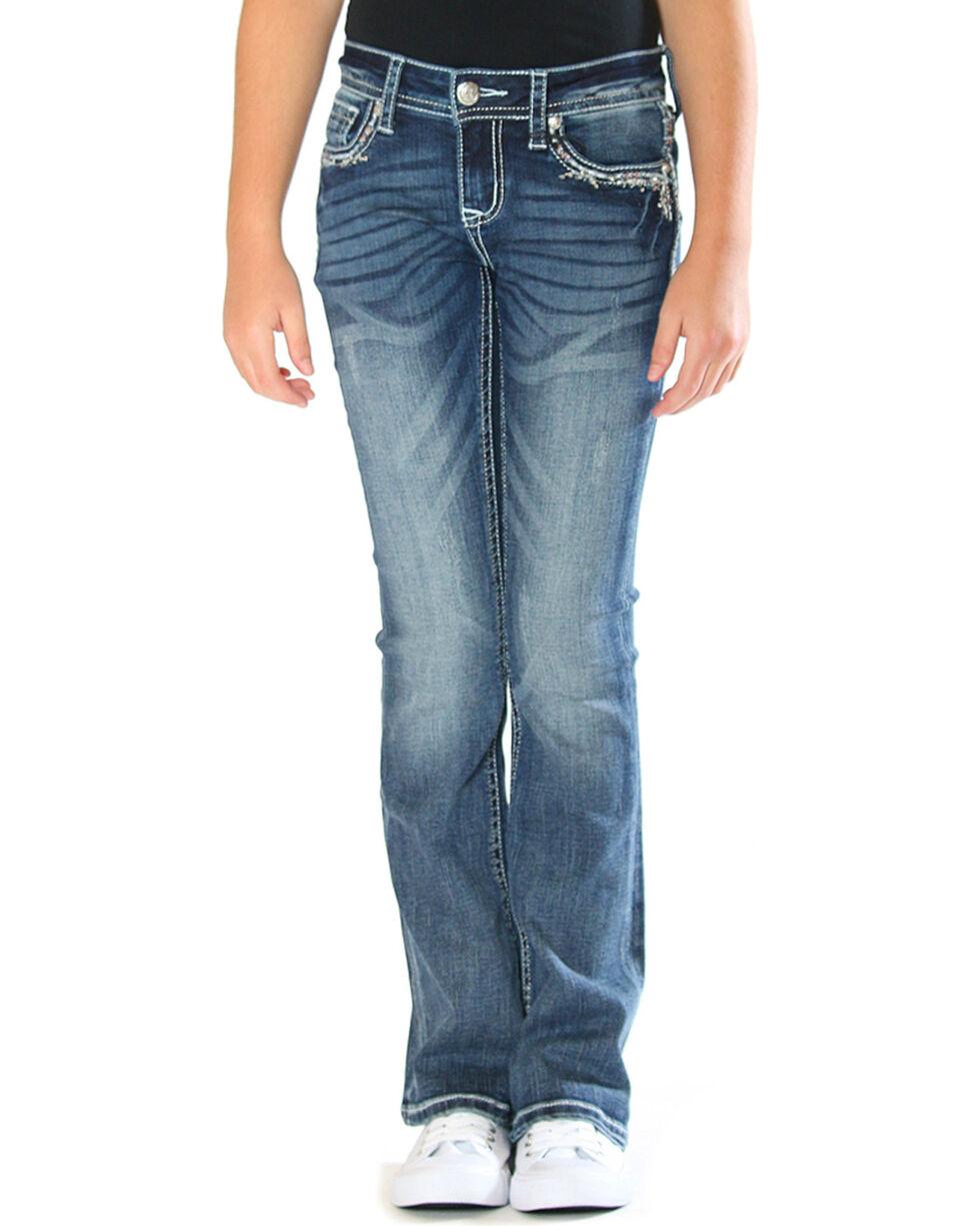Grace in LA Girls' Blue Bling Pocket Border Jeans - Boot Cut , Blue, hi-res