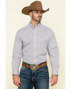 Ariat Men's Randall Stretch Geo Print Long Sleeve Western Shirt , White, hi-res