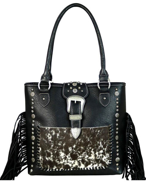 Montana West Trinity Ranch Black Hair-On Leather Concealed Carry Tote , Black, hi-res
