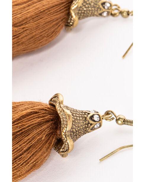Shyanne Women's Adilene Simple Brown Tassel Earrings, Brown, hi-res