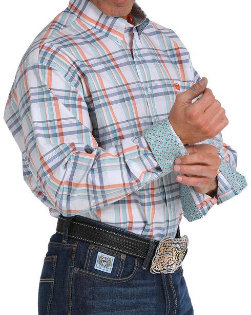 Cinch Men's White Plaid Long Sleeve Button Down Shirt, White, hi-res