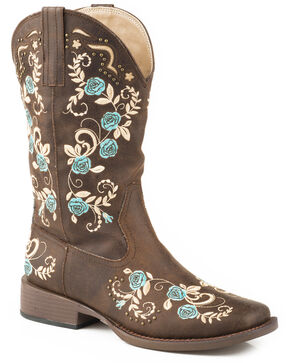 Roper Women's Zinnia Floral Embroidered Western Boots - Square Toe, Brown, hi-res