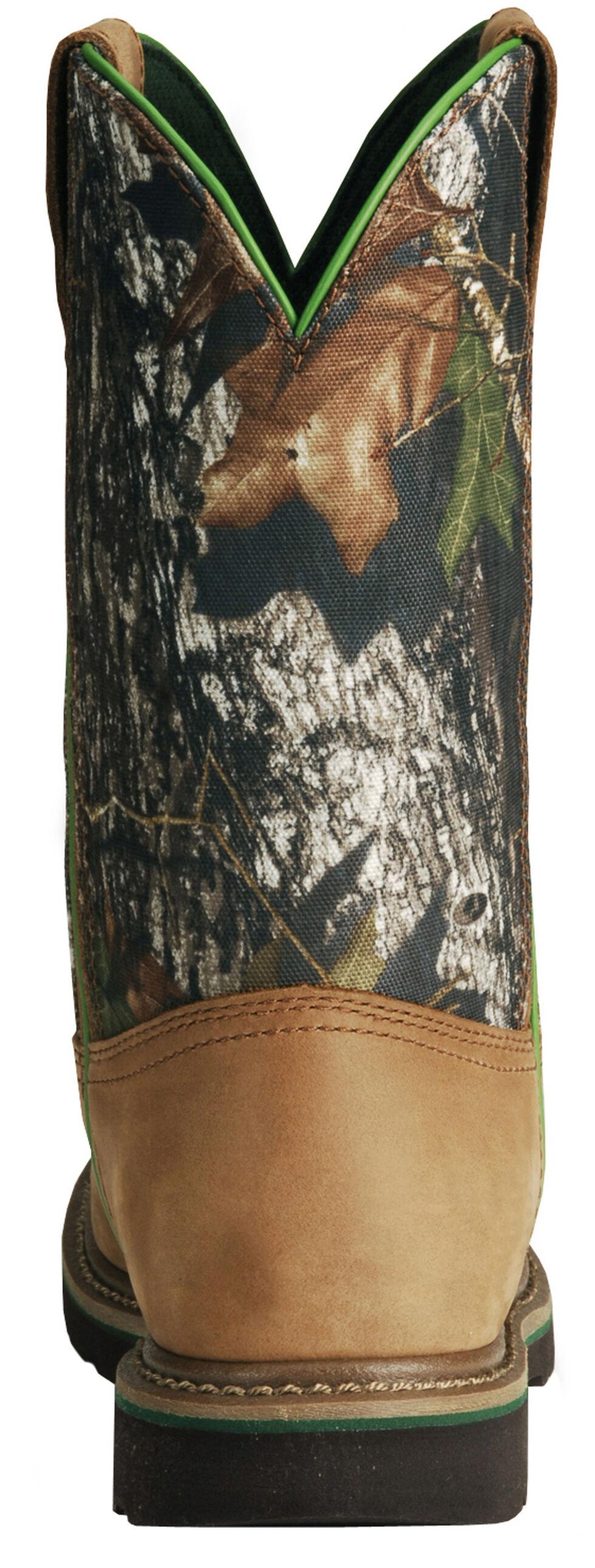 John Deere Mossy Oak Camo Wellington Work Boots - Steel Toe, Tan, hi-res