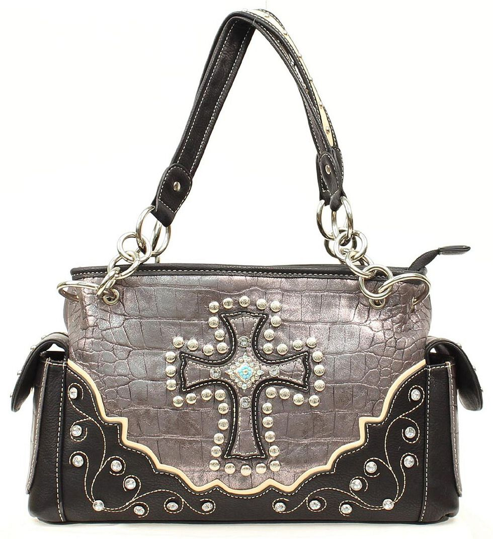 Blazin Roxx Croc Print Cross Satchel Bag, , hi-res