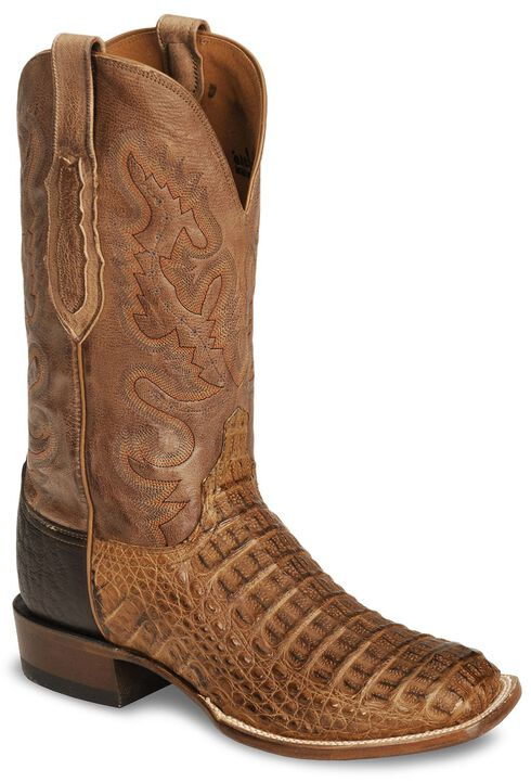 Lucchese Handcrafted Waxy Hornback Caiman Cowboy Boots - Square Toe, Tan, hi-res