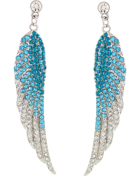 Shyanne Women's Rhinestone Wing Earrings, Turquoise, hi-res