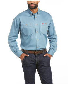 Ariat Men's FR Blue Solid Vented Long Sleeve Button-Down Work Shirt , Blue, hi-res