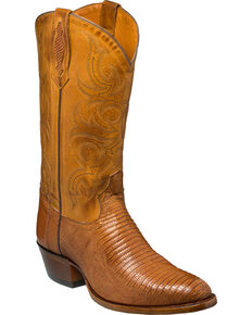 Tony Lama Men's Nacogdoches Brandy Teju Lizard Cowboy Boots - Medium Toe, Tan, hi-res
