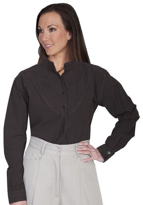 Rangewear by Scully Cotton Embroidered Long Sleeve Top, Chocolate, hi-res