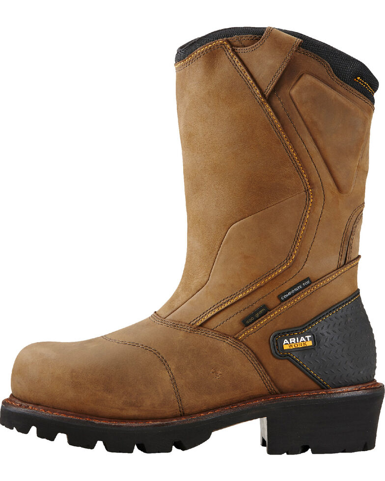 Ariat Men's Brown Powerline H20 400g Work Boots - Composite Toe, Brown, hi-res