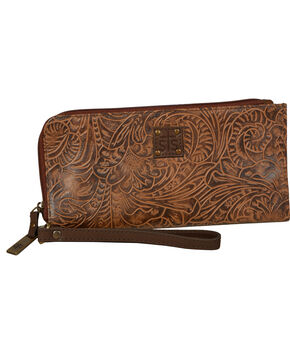 STS Ranchwear Mocha Floral Clutch Wallet, Dark Brown, hi-res