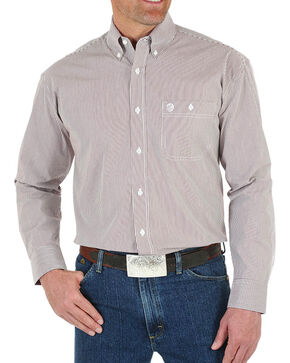 Wrangler Men's George Strait Striped Button Down Long Sleeve Shirt, Wine, hi-res