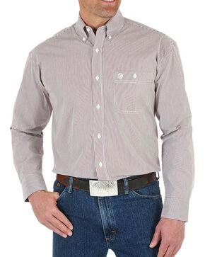 Wrangler Men's George Strait Striped Button Down Long Sleeve Shirt, Wine, hi-res