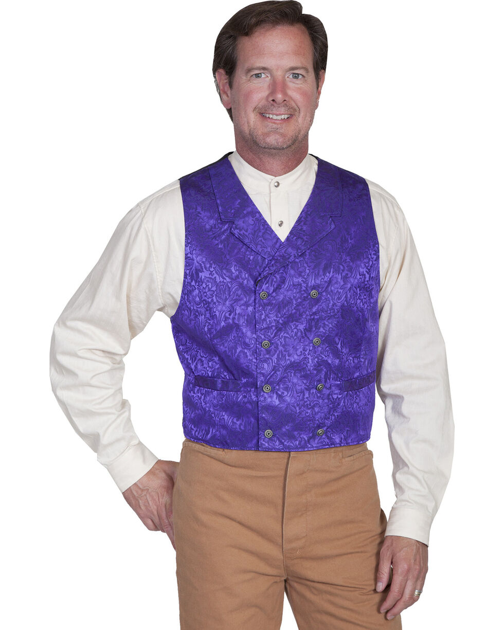 Wahmaker by Scully Floral Silk Double Breasted Vest, Purple, hi-res