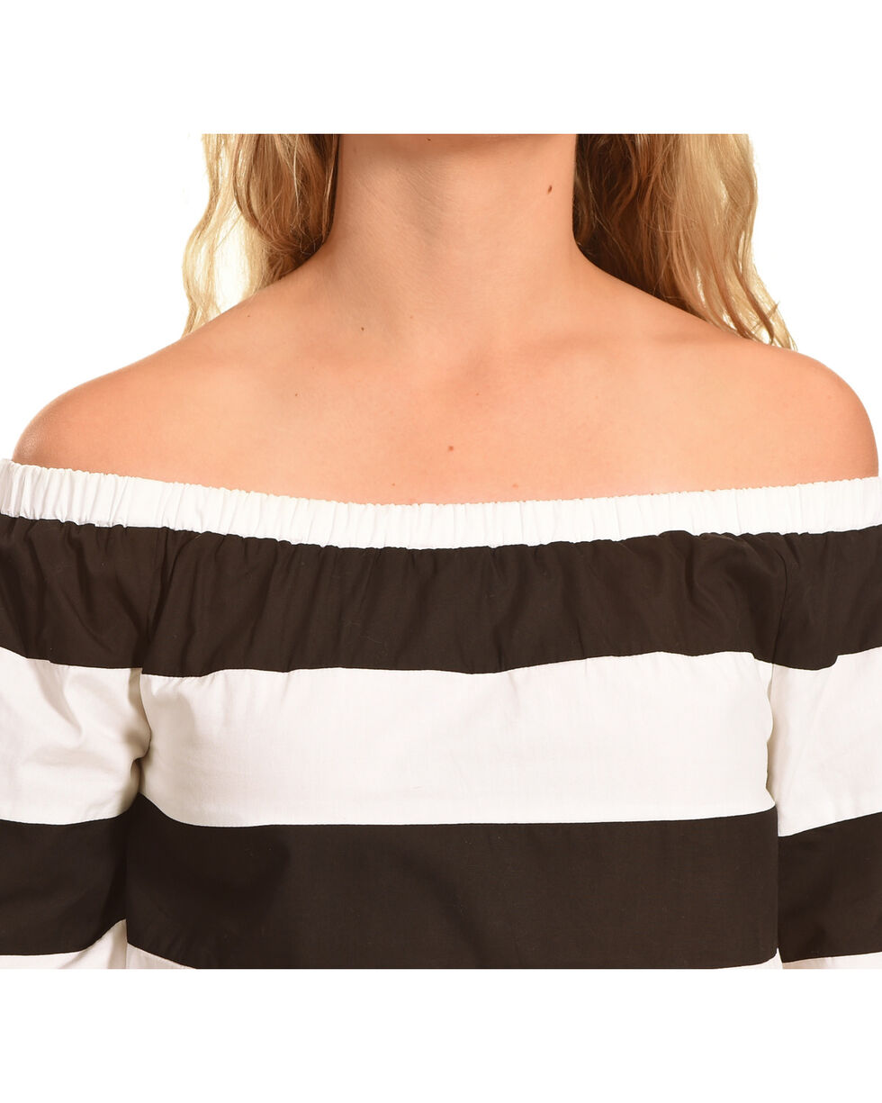 Polagram Women's Off The Shoulder Striped Top , White, hi-res