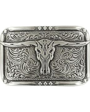Crumrine Vintage Men's Longhorn Skull Belt Buckle, Silver, hi-res