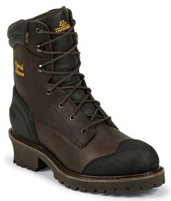 "Chippewa 8"" Waterproof & Insulated Lace-up Logger Boots - Composite Toe, Chocolate, hi-res"