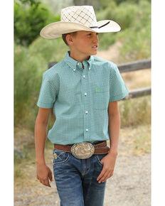 6f4e090c Cinch Boys Geo Print Short Sleeve Western Shirt , Multi, hi-res