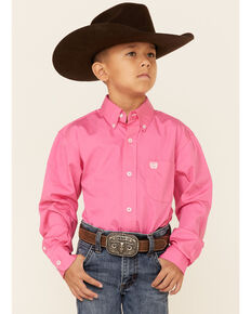 Cinch Boys' Hot Pink Long Sleeve Shirt, Pink, hi-res