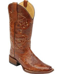 Circle G Diamond Embroidered Cowgirl Boots - Square Toe, Cognac, hi-res