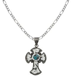 Montana Silversmiths Antiqued Silver Cross with Faux Turquoise Necklace, Silver, hi-res