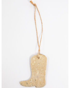 BB Ranch Gold Cowhide Boot Ornament, Gold, hi-res