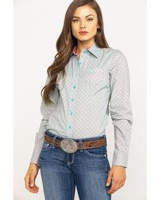 3b525b82 Cinch Womens Mint Geo Print Button Long Sleeve Western Core Shirt, Light  Green, hi