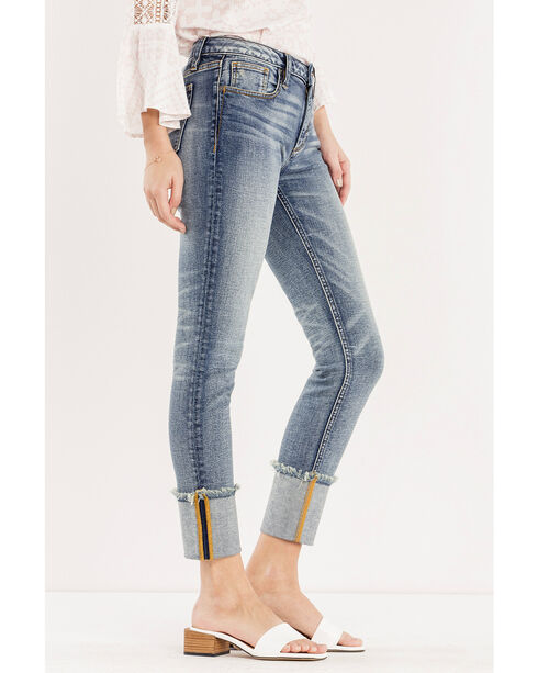 Miss Me Women's Blue Cuffing Season Mid-Rise Jeans - Ankle Skinny , Blue, hi-res