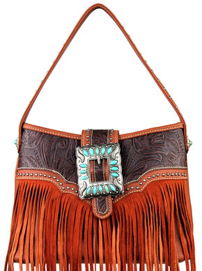Montana West Trinity Ranch Concealed Handgun Fringe Design Handbag, Brown, hi-res