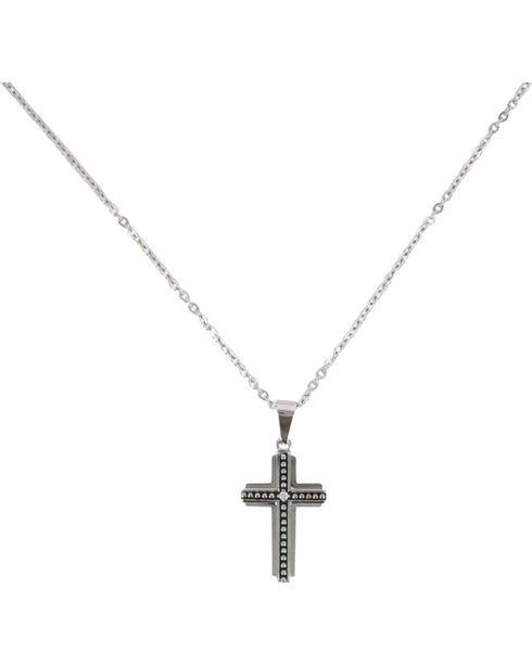Moonshine Spirit Men's Beaded Layer Cross Necklace, Silver, hi-res
