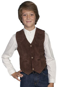 Scully Boys' Boar Suede Vest, Espresso, hi-res