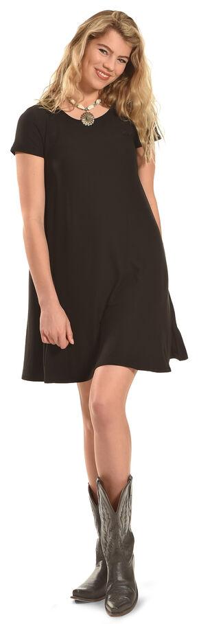 Derek Heart Women's Yara's Yummy Trapeze Dress , Black, hi-res