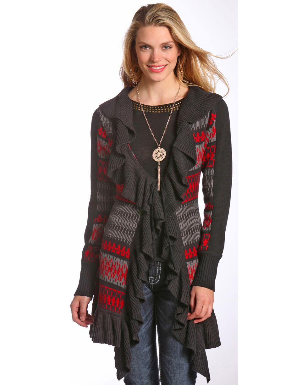 Powder River Outfitters Women's Aztec Ruffled Cardigan , Charcoal, hi-res