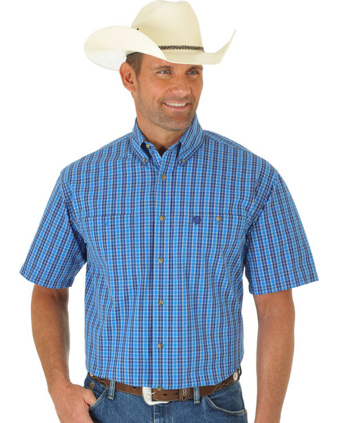 Wrangler George Strait Blue & Navy Poplin Plaid Short Sleeve Shirt, Multi, hi-res