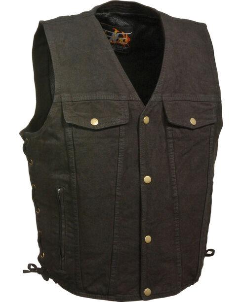 Milwaukee Leather Men's Side Lace Denim Vest w/ Chest Pockets - Big - 3X, , hi-res